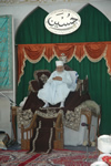 Huzoor-e-Aali Saiyedna Taiyeb Ziyauddin saheb (tus) on Takht-e-Taiyebi on the first day of Majlis-e-Husaini